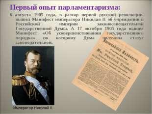 Первый опыт парламентаризма: 6 августа 1905 года, в разгар первой русской рев