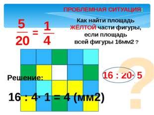 ПРОБЛЕМНАЯ СИТУАЦИЯ: = Как найти площадь ЖЁЛТОЙ части фигуры, если площадь вс