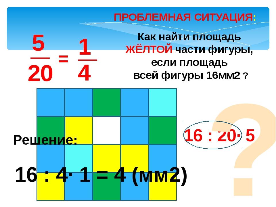 ПРОБЛЕМНАЯ СИТУАЦИЯ: = Как найти площадь ЖЁЛТОЙ части фигуры, если площадь вс...