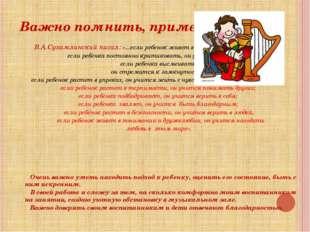 Важно помнить, применять! В.А.Сухамлинский писал: «...если ребенок живет во