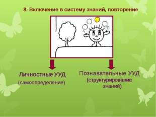 8. Включение в систему знаний, повторение Личностные УУД (самоопределение) По