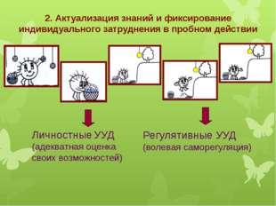 2. Актуализация знаний и фиксирование индивидуального затруднения в пробном д