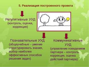 5. Реализация построенного проекта Регулятивные УУД (контроль, оценка, коррек