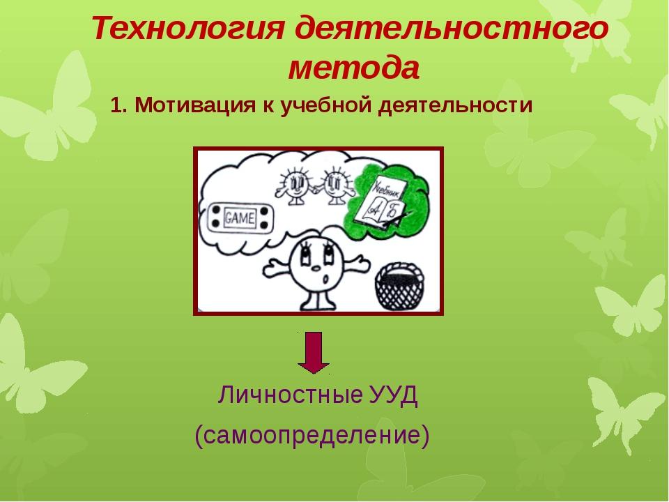 Технология деятельностного метода 1. Мотивация к учебной деятельности Личност...