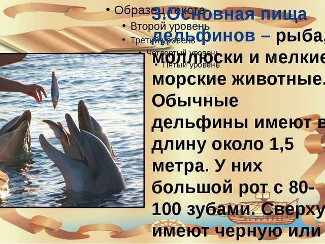 3.Основная пища дельфинов – рыба, моллюски и мелкие морские животные. Обычны...
