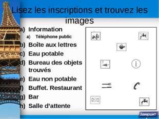 Lisez les inscriptions et trouvez les images Information Téléphone public Boî
