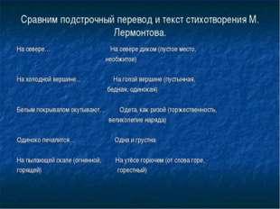 Сравним подстрочный перевод и текст стихотворения М. Лермонтова. На севере… Н