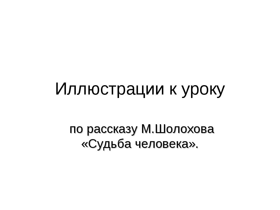 Иллюстрации к уроку по рассказу М.Шолохова «Судьба человека».