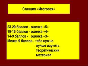Станция «Итоговая» 23-20 баллов - оценка «5» 19-15 баллов - оценка «4» 14-9 б
