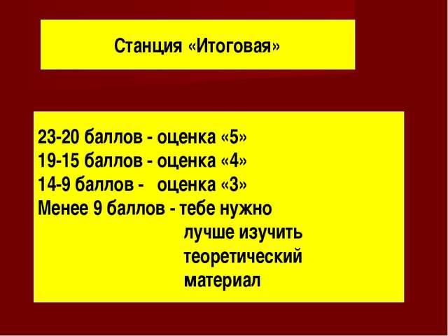 Станция «Итоговая» 23-20 баллов - оценка «5» 19-15 баллов - оценка «4» 14-9 б...