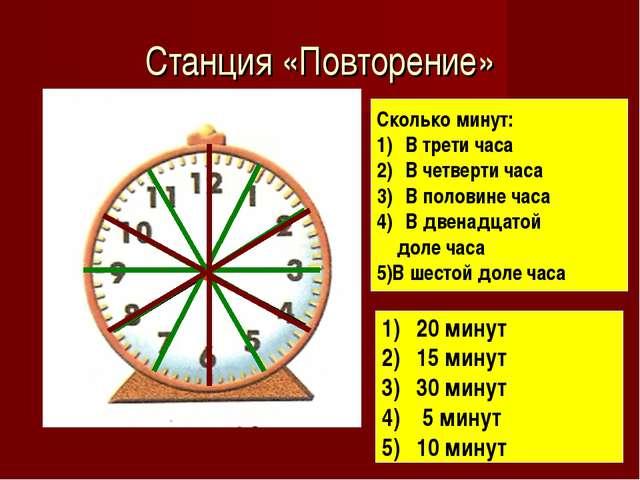 Станция «Повторение» Сколько минут: В трети часа В четверти часа В половине ч...