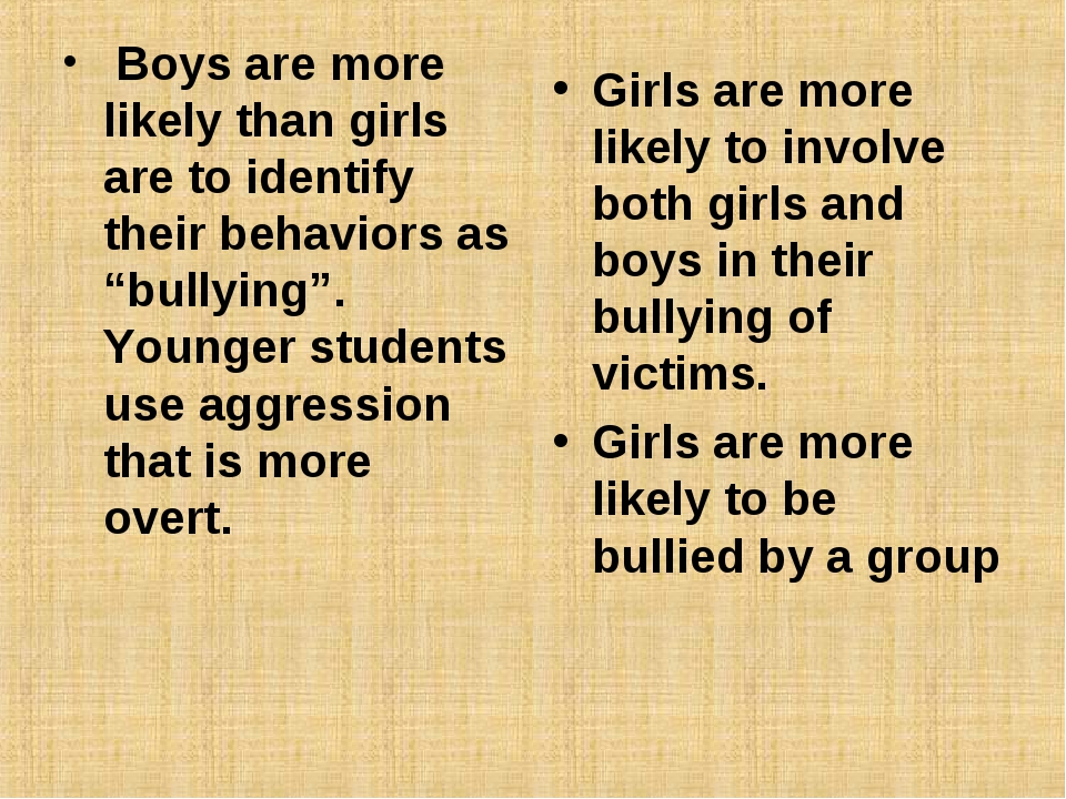 "Boys are more likely than girls are to identify their behaviors as ""bullying..."