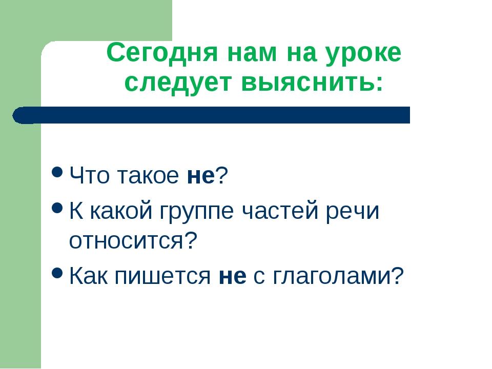 Сегодня нам на уроке следует выяснить: Что такое не? К какой группе частей ре...