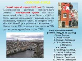 «ЗОЛОТОЙ» ГОРОД Самый дорогой город в 2012 году. По данным Международного ин
