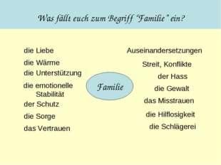 """Was fällt euch zum Begriff """"Familie"""" ein? Familie die Liebe die Wärme die Unt"""