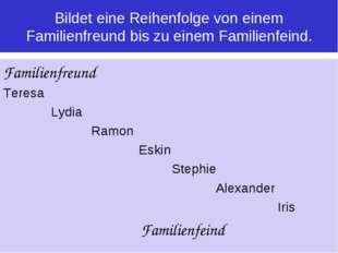 Bildet eine Reihenfolge von einem Familienfreund bis zu einem Familienfeind.