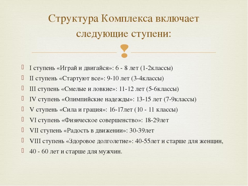 Структура Комплекса включает следующие ступени: I ступень «Играй и двигайся»:...