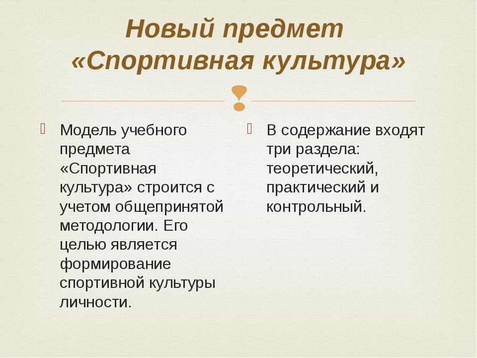 Новый предмет «Спортивная культура» Модель учебного предмета «Спортивная куль...