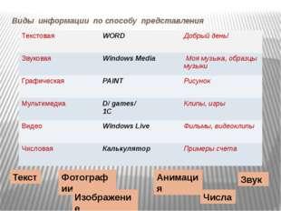 Виды информации по способу представления Текст Звук Фотографии Анимация Изобр