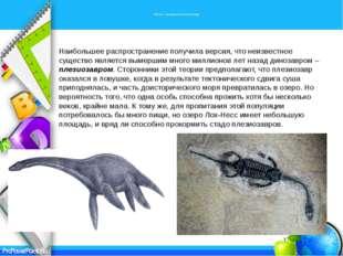 Несси – вымерший плезиозавр Наибольшее распространение получила версия, что
