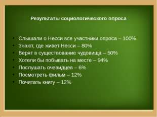 Результаты социологического опроса Слышали о Несси все участники опроса – 10