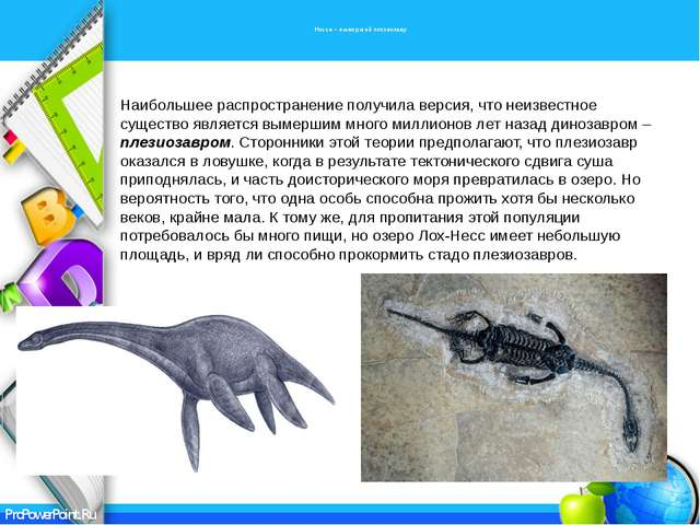 Несси – вымерший плезиозавр Наибольшее распространение получила версия, что...
