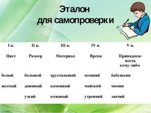 Эталон для самопроверки I в. II в. III в. IV в. V в. Цвет Размер Мате