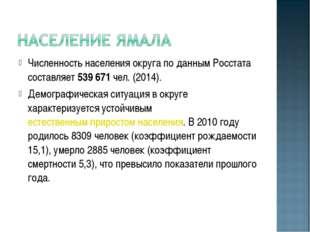Численность населения округа по данным Росстата составляет539 671чел. (2014