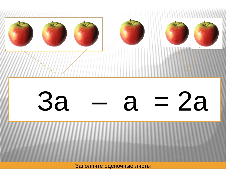 За – а = 2а - = Заполните оценочные листы