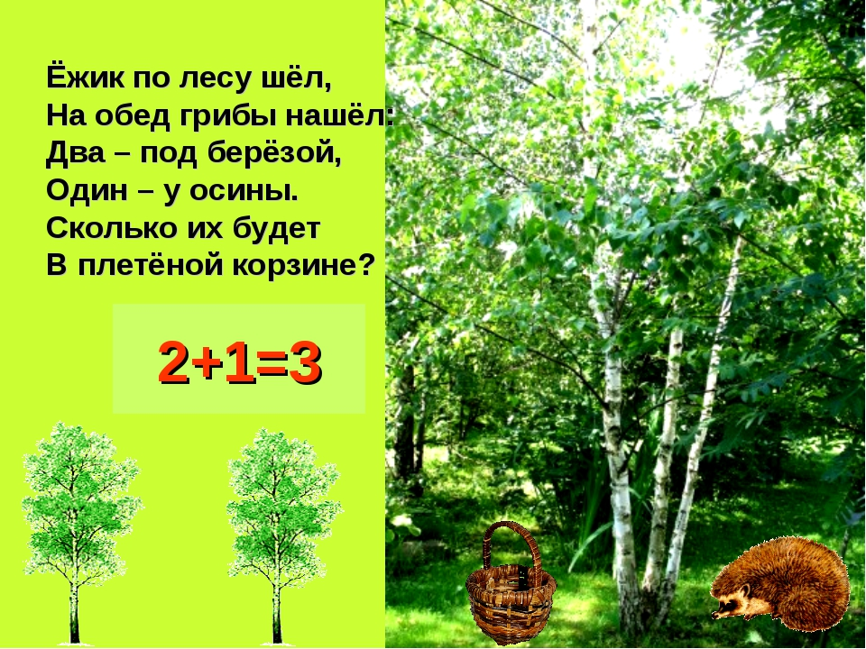 Ёжик по лесу шёл, На обед грибы нашёл: Два – под берёзой, Один – у осины. Ско...