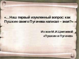 «…Наш первый изумленный вопрос: как Пушкин своего Пугачева написал – зная?» И