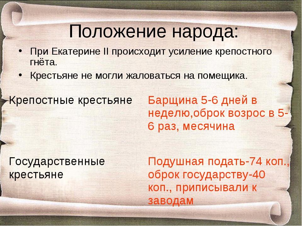 Положение народа: При Екатерине II происходит усиление крепостного гнёта. Кре...