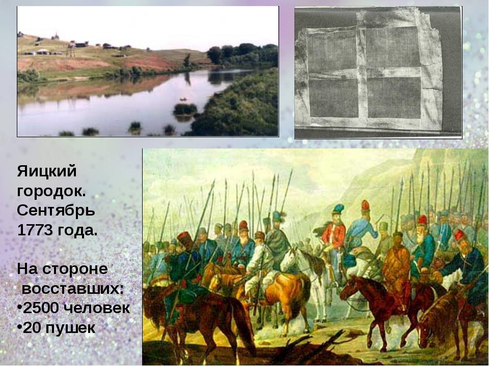 Яицкий городок. Сентябрь 1773 года. На стороне восставших: 2500 человек 20 п...