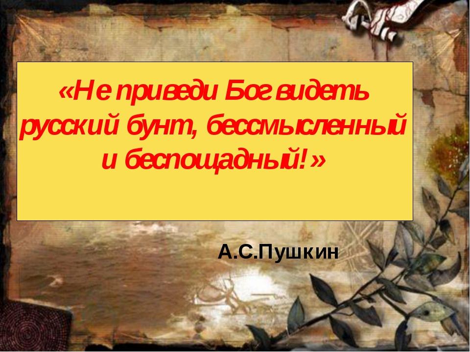 «Не приведи Бог видеть русский бунт, бессмысленный и беспощадный!» А.С.Пушкин