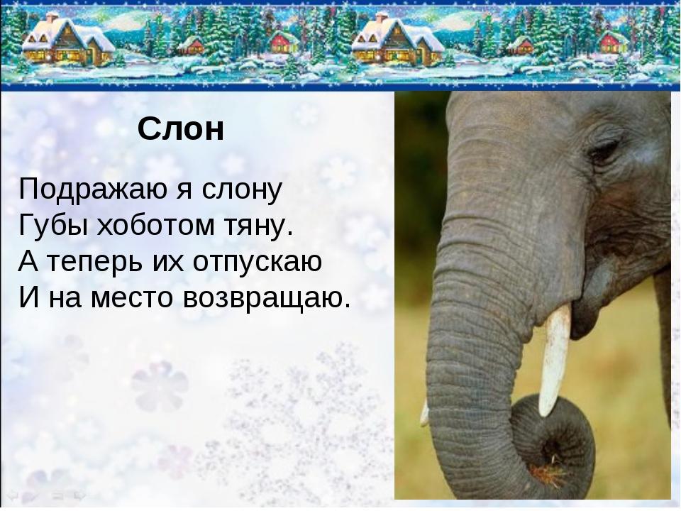 Слон Подражаю я слону Губы хоботом тяну. А теперь их отпускаю И на место возв...