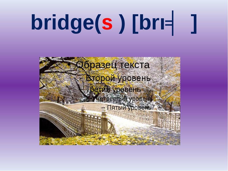 bridge(s ) [brıʤ]