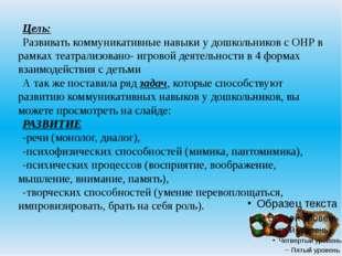 Цель: Развивать коммуникативные навыки у дошкольников с ОНР в рамках театрал