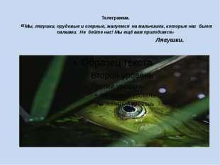 Телеграмма. «Мы, лягушки, прудовые и озерные, жалуемся на мальчишек, которые