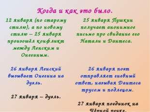 Когда и как это было. 12 января (по старому стилю), а по новому стилю – 25 ян