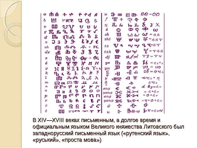 В XIV—XVIII веках письменным, а долгое время и официальным языком Великого кн...