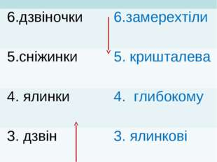 6.дзвіночки 6.замерехтіли 5.сніжинки 5. кришталева 4. ялинки 4. глибоком