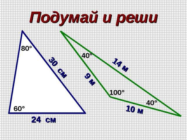 Подумай и реши 80° 60° 24 см 30 см 40° 40° 100° 9 м 10 м 14 м