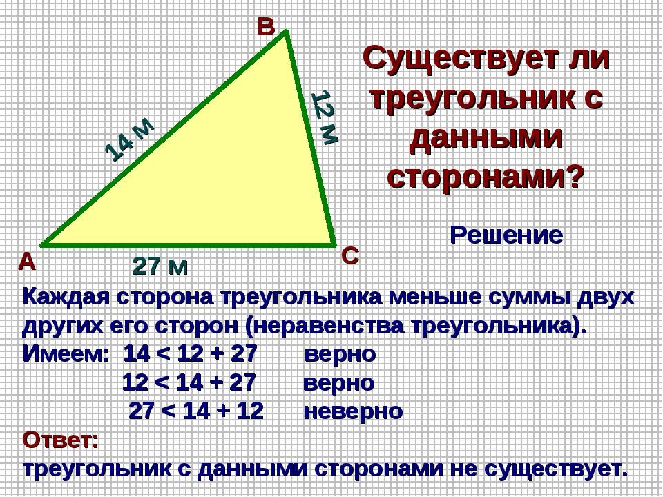 Существует ли треугольник с данными сторонами? А В С 27 м 14 м 12 м Каждая ст...