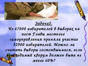 Задача2. Из 47000 избирателей в выборах на пост Главы местного самоуправления