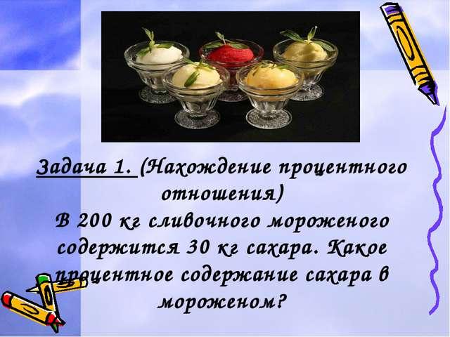 Задача 1. (Нахождение процентного отношения) В 200 кг сливочного мороженого с...