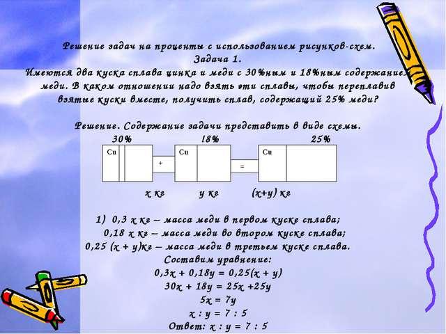Решение задач на проценты с использованием рисунков-схем. Задача 1. Имеются...