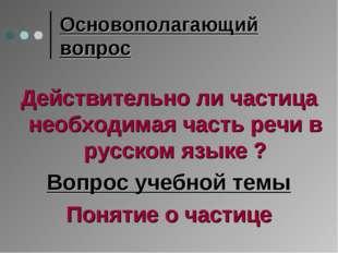 Основополагающий вопрос Действительно ли частица необходимая часть речи в рус