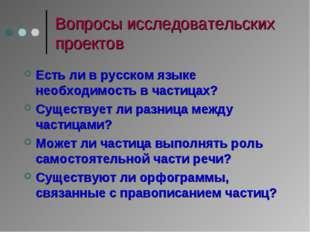 Вопросы исследовательских проектов Есть ли в русском языке необходимость в ча