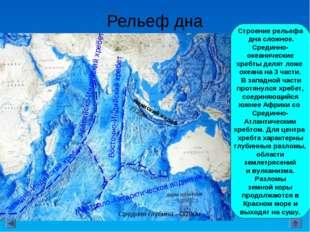 Рельеф дна Строение рельефа дна сложное. Срединно- океанические хребты делят