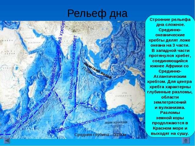 Рельеф дна Строение рельефа дна сложное. Срединно- океанические хребты делят...